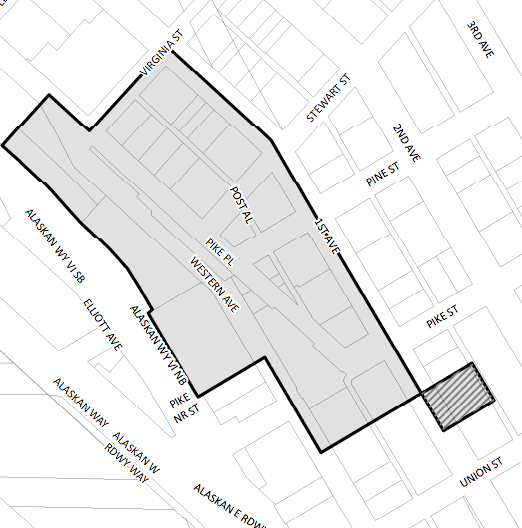 The hatched area indicates where the historic district expansion applies temporarily. The grey area is the existing Place Place Market Historic District. (City of Seattle)