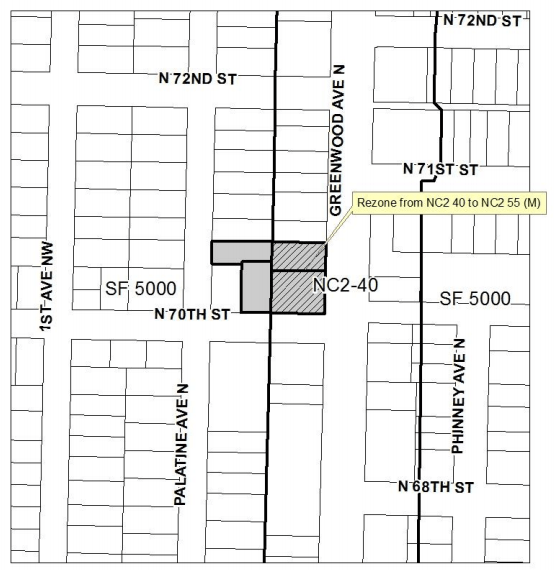 Rezoned site in Greenwood. (City of Seattle)