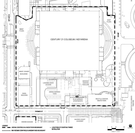 KeyArena site with preservation controls and incentives. (City of Seattle)