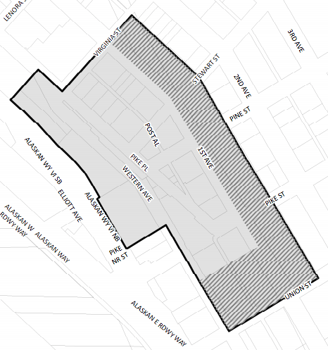 Grey area = existing historic district; hatched area = study area of historic district expansion. (City of Seattle)