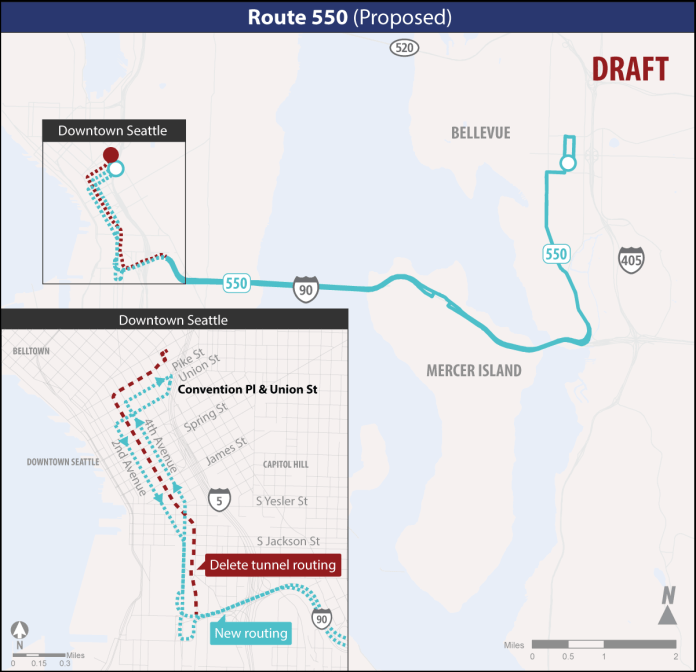 Proposed Route 550 changes. (Sound Transit)
