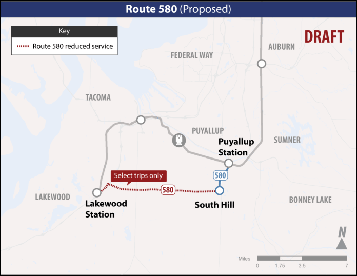 Proposed changes to Route 580. (Sound Transit)