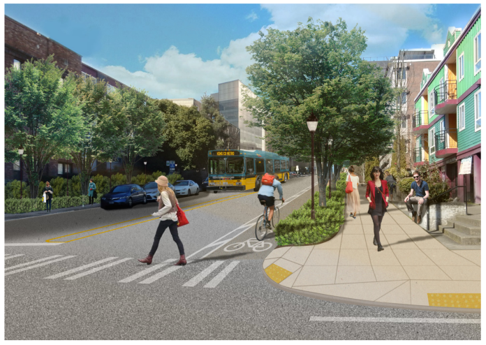 Artist's sketch of transit, bike lanes, and green street on Brooklyn Ave NE. (U District Mobility Group)
