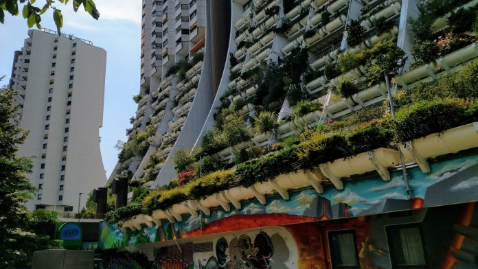 Vienna social housing towers with greenery hanging from balconies.