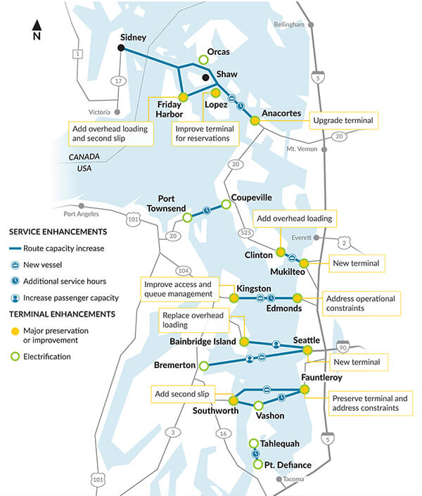 Planned ferry system enhancements by 2040. (WSF)