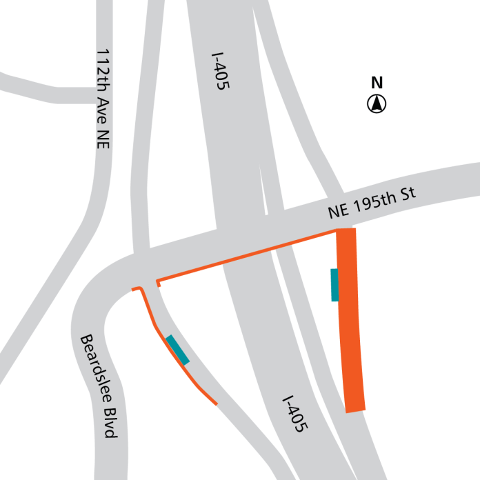 Orange: roadway modifications. Teal: BRT stops. (Sound Transit)