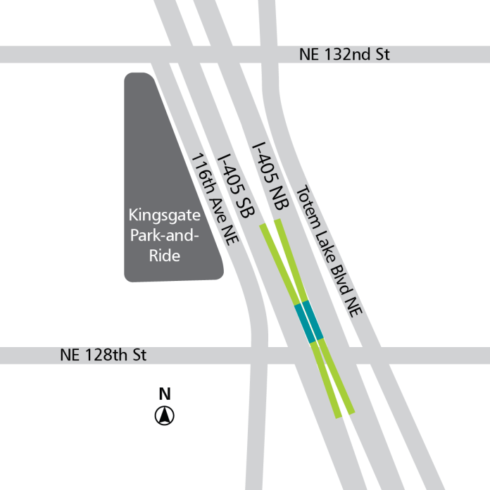 Neon green: existing direct-access ramps. Teal: BRT stops. (Sound Transit)