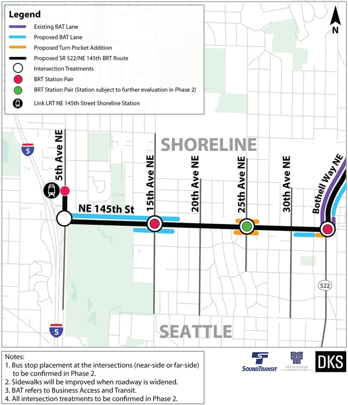 Preliminary corridor improvements and BRT treatments for Seattle and Shoreline. (Sound Transit)