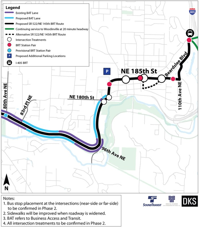 Preliminary corridor improvements and BRT treatments for Bothell. (Sound Transit)