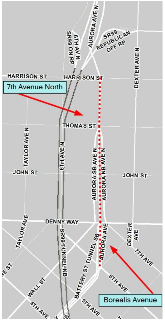 Sections of street being renamed on Aurora. (City of Seattle)