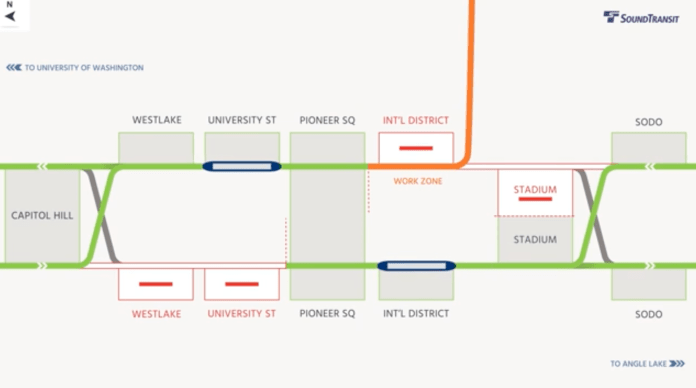 Diagram of the Phase 1 operations, closures, and work zones. (Sound Transit)
