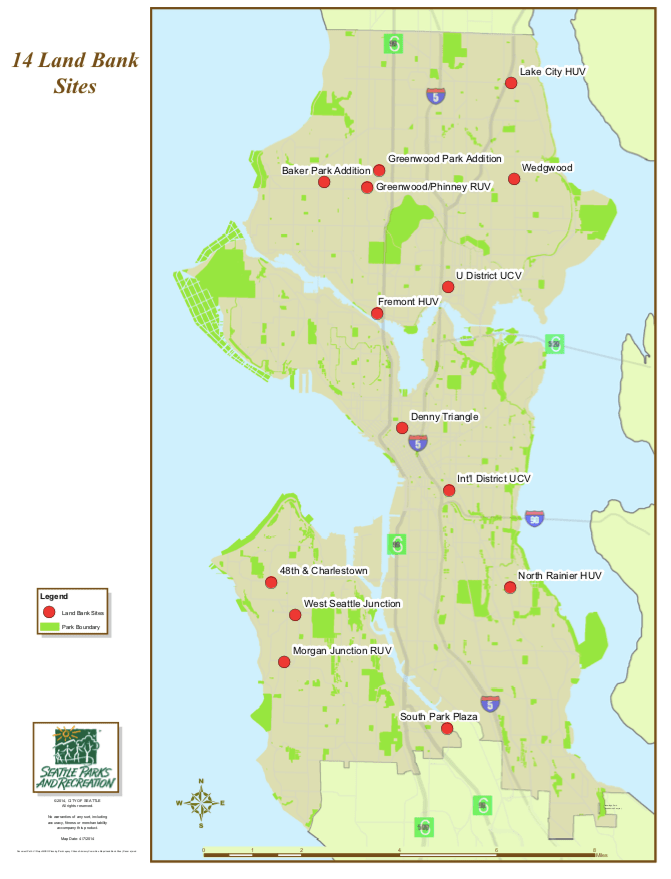 These landbanked sites have been acquired by the City to increase open space capacity as Seattle's population continues to grow. Credit: City of Seattle