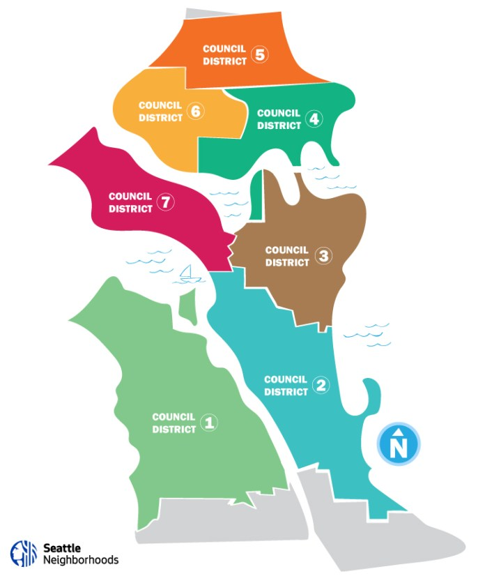 Council District 1 is Southwest Seattle (west of the Duwamish River), District 2 is Southeast Seattle and the International District, Council District 3 includes Capitol Hill, First Hill, the Central Area, Montlake, and Madison Park, District 4 is Northwest Seattle and Eastlake, District 5 is the far north, District 6 is greater Ballard and Greenwood, and District 7 is Downtown, Queen Anne, and Magnolia. (City of Seattle)