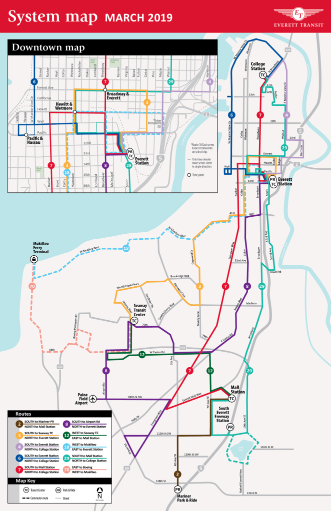The new Everett Transit system network starting on March 31st. (City of Everett)