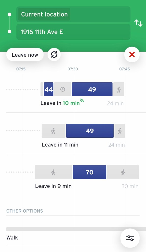 Trip planning screen with one partially live tip option. (Transit App)