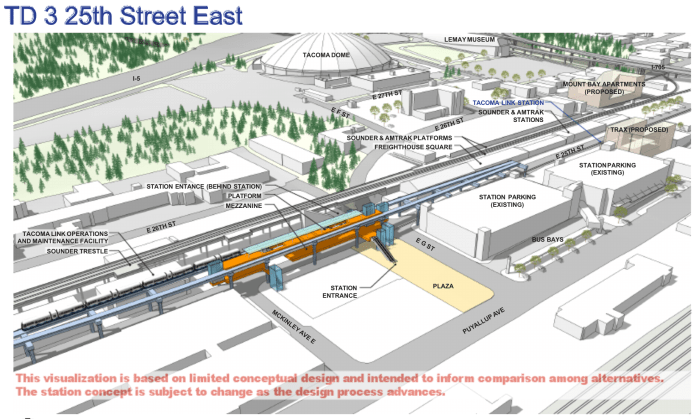 Rendering of the TD 3 option for the Tacoma Dome segment. (Sound Transit)