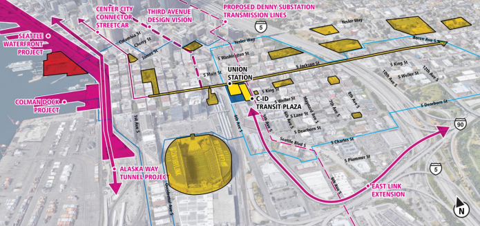 Major projects intersecting with the station area. (Sound Transit)
