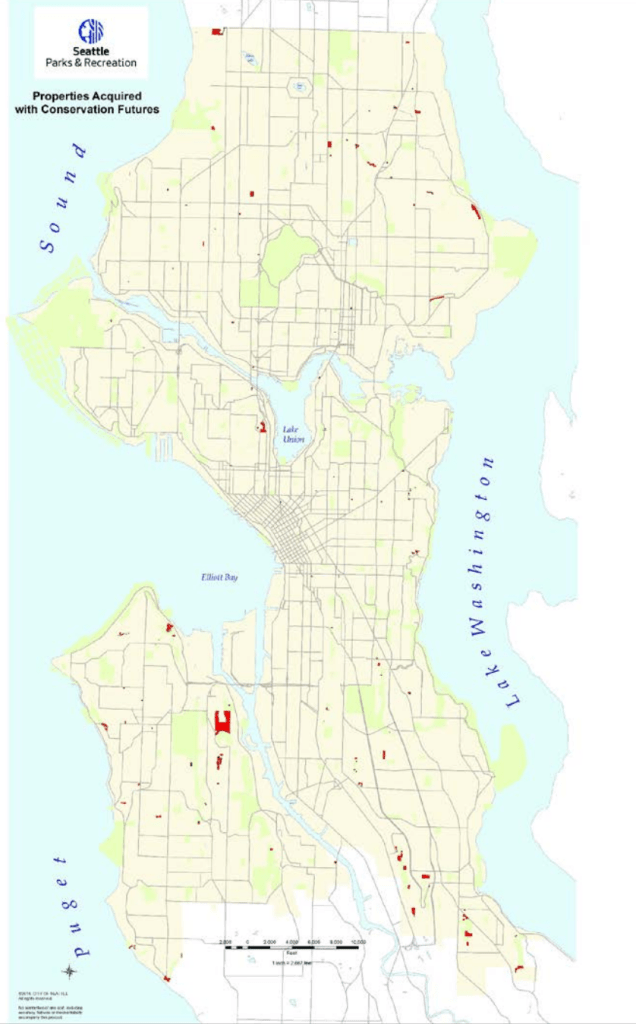 Map of past acquisitions under the Conservation Futures program. (City of Seattle)