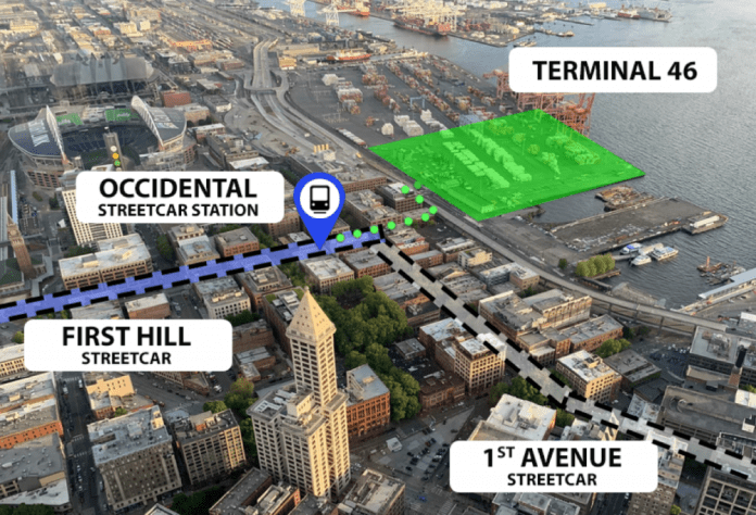 A proposed new cruise terminal at South King Street could bring thousands of passengers to the nearby streetcar station at Occidental Square. (Paige Malott)