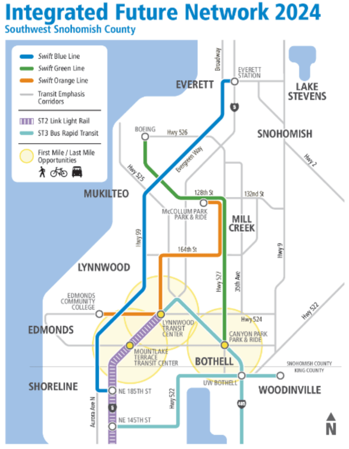 What the network in Southwest Snohomish County with Link could look like in 2024. (Community Transit)