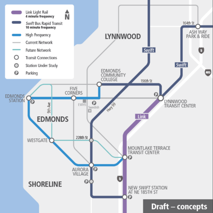 A draft concept of high-level Community Transit bus service to Link. (Community Transit)