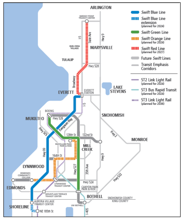 Conceptual Swift network, light rail, and transit emphasis corridors. (Community Transit)