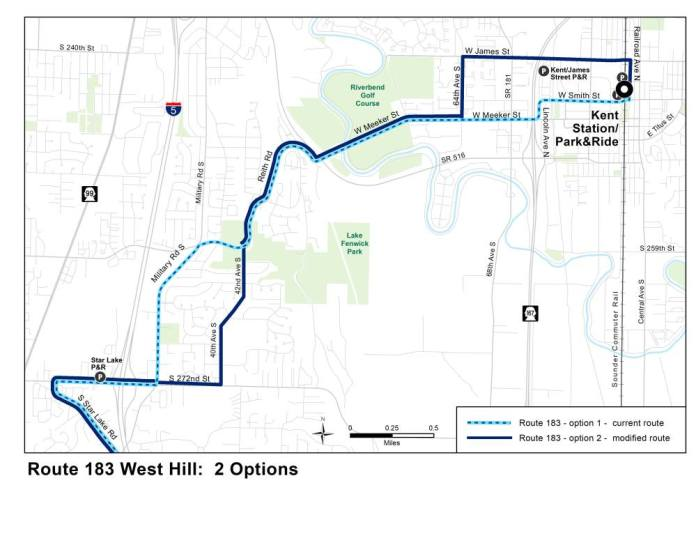 Comparison of existing and proposed service on Route 183 in the West Hill area. (King County)
