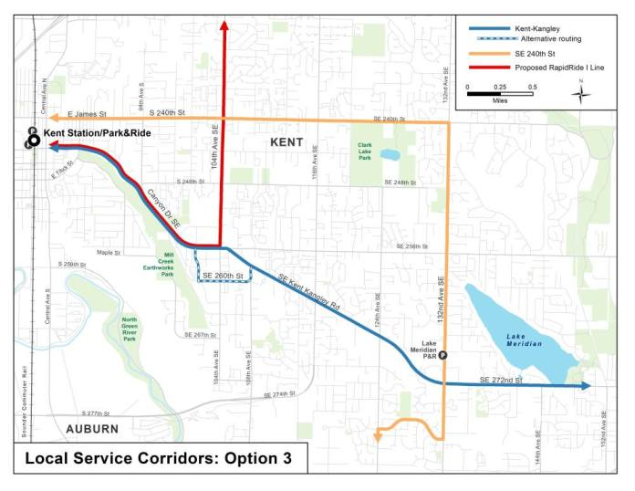 Option 3 for corridor service options in East Hill and Lake Meridian. (King County)