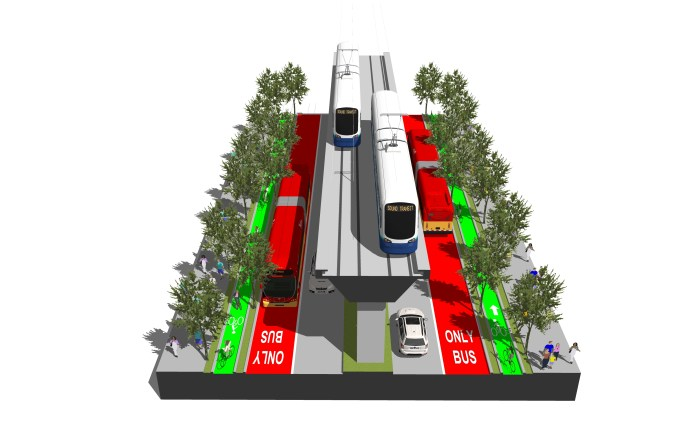 A elevated rail line down the middle of Aurora Avenue with bike lanes, bus lanes, and a row of trees on the side.