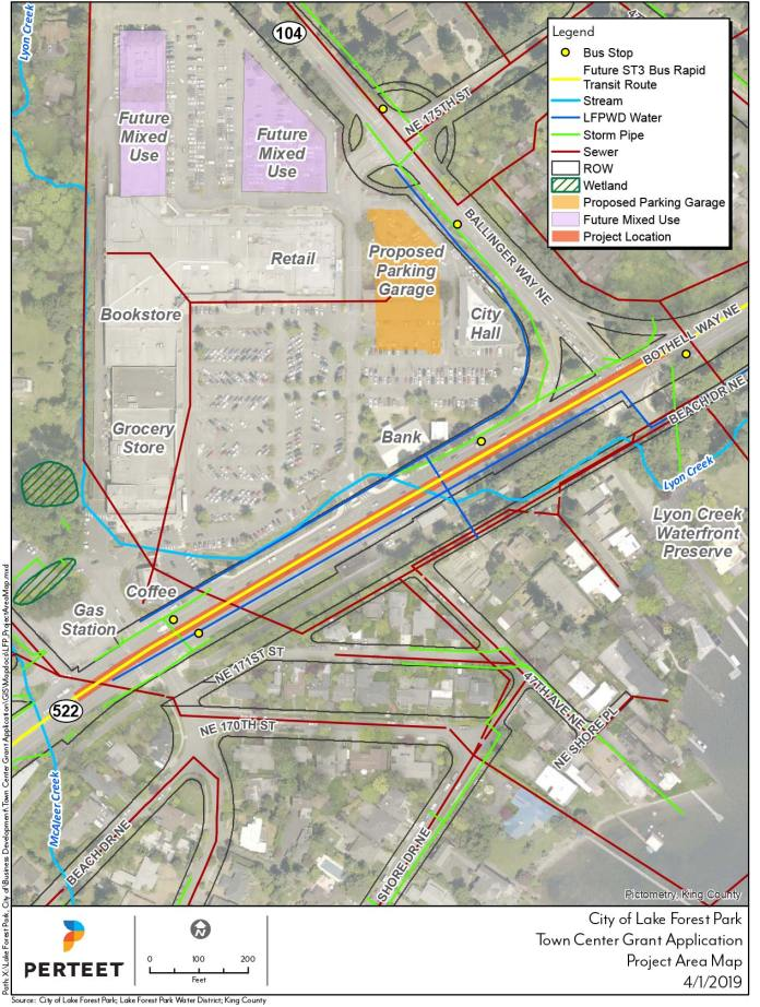 Proposed area for the trail connection in Lake Forest Park. (Sound Transit / City of Lake Forest Park)