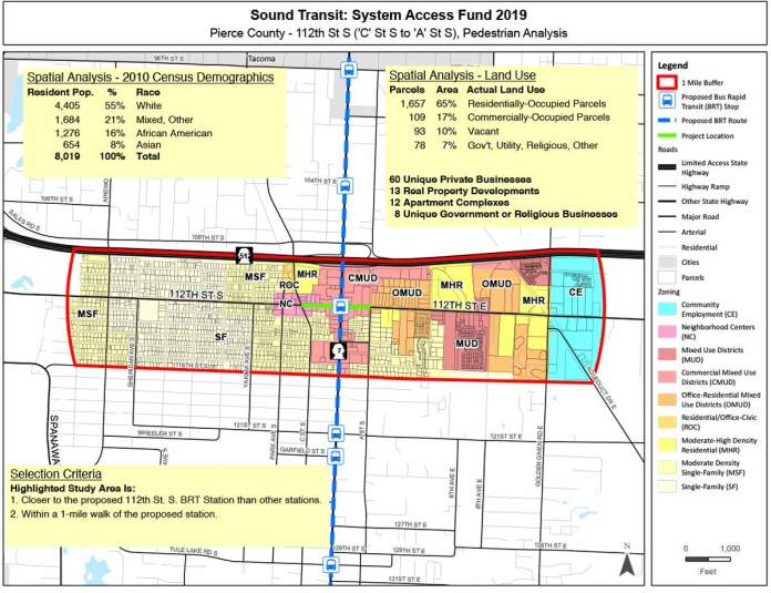 Proposed improvement locations along 112th St S in unincorporated Pierce County. (Sound Transit / Pierce County)