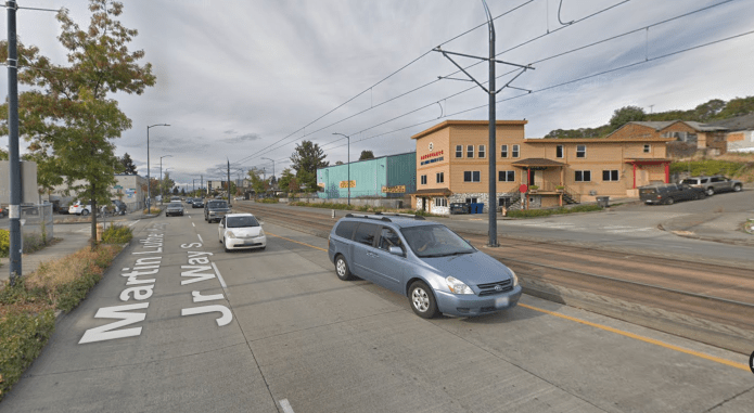 Example of closed intersection where light rail was constructed on MLK Jr Way S at S Findlay St. (Google Maps)
