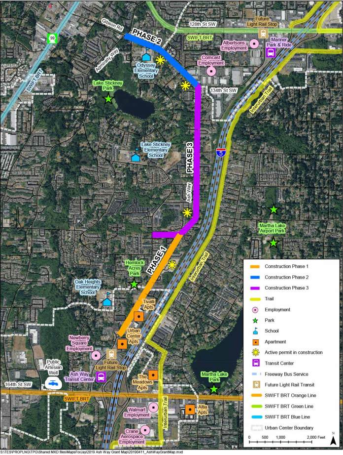 The Ash Way bike and pedestrian improvements would roll out between 2026 and 2030 for a total project cost of $2 million. (Sound Transit / Snohomish County)