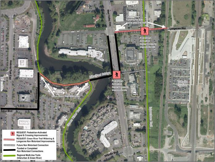 Proposed non-motorized improvements in Tukwila. (Sound Transit / City of Tukwila)