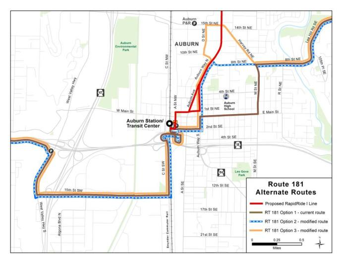 Options for changes to Route 181 in Auburn. (King County)