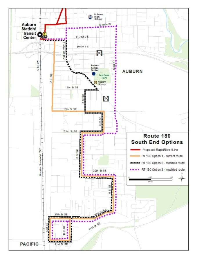 Options for changes to Route 180 in Auburn. (King County)