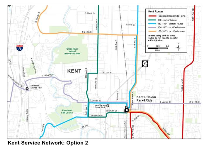 Option 2 would restructure Kent Valley network for local all-day bus routes. (King County)