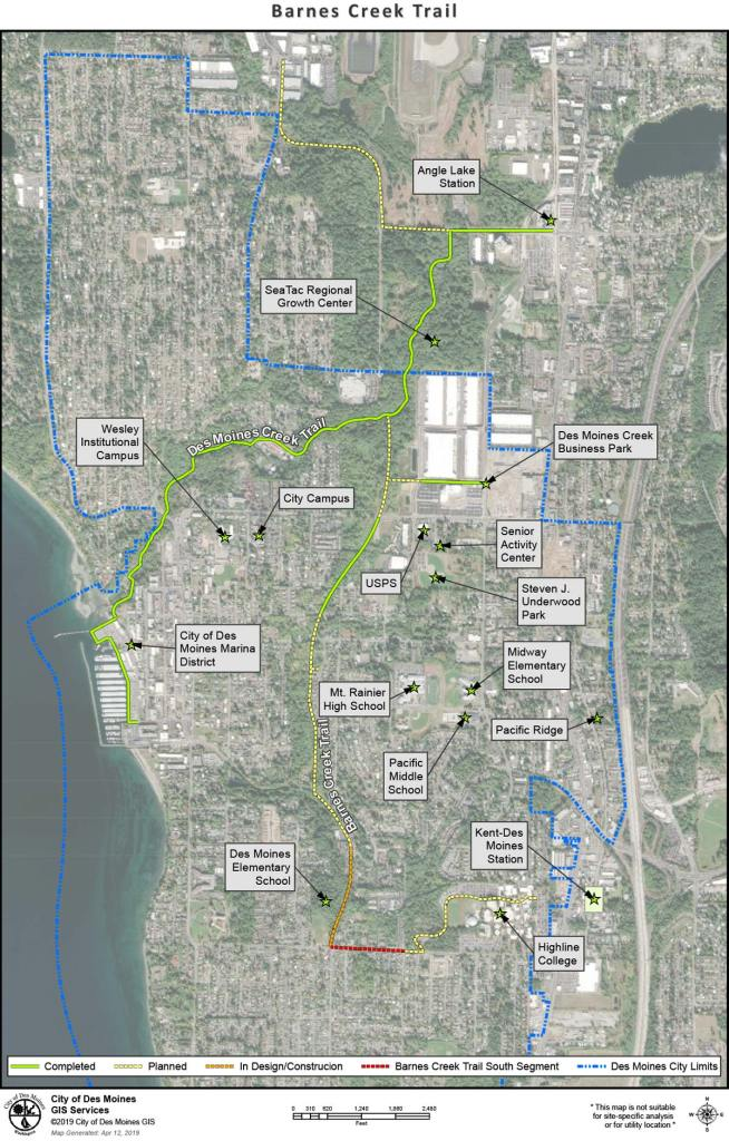 Planned and completed Barnes Creek Trail improvements in Des Moines. (City of Des Moines)