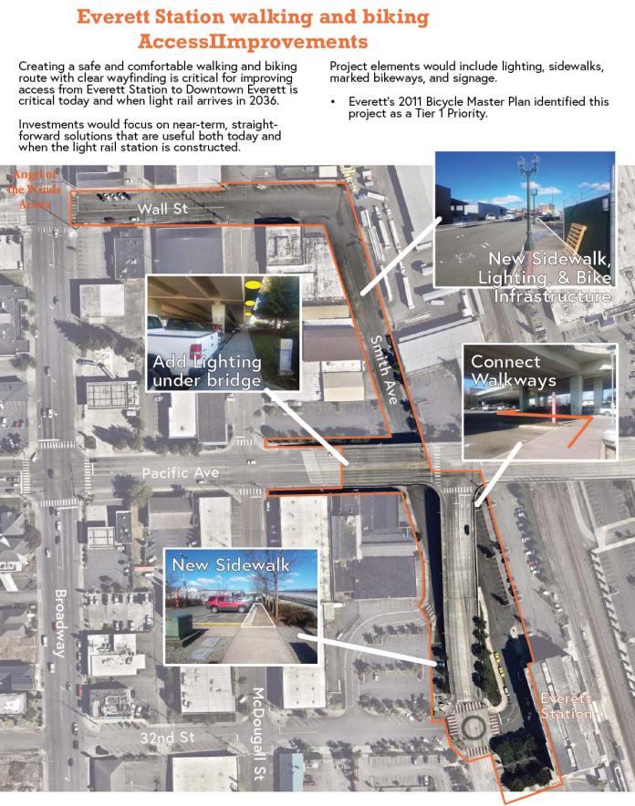Planned pedestrian and bike improvements near Everett Station. (City of Everett)
