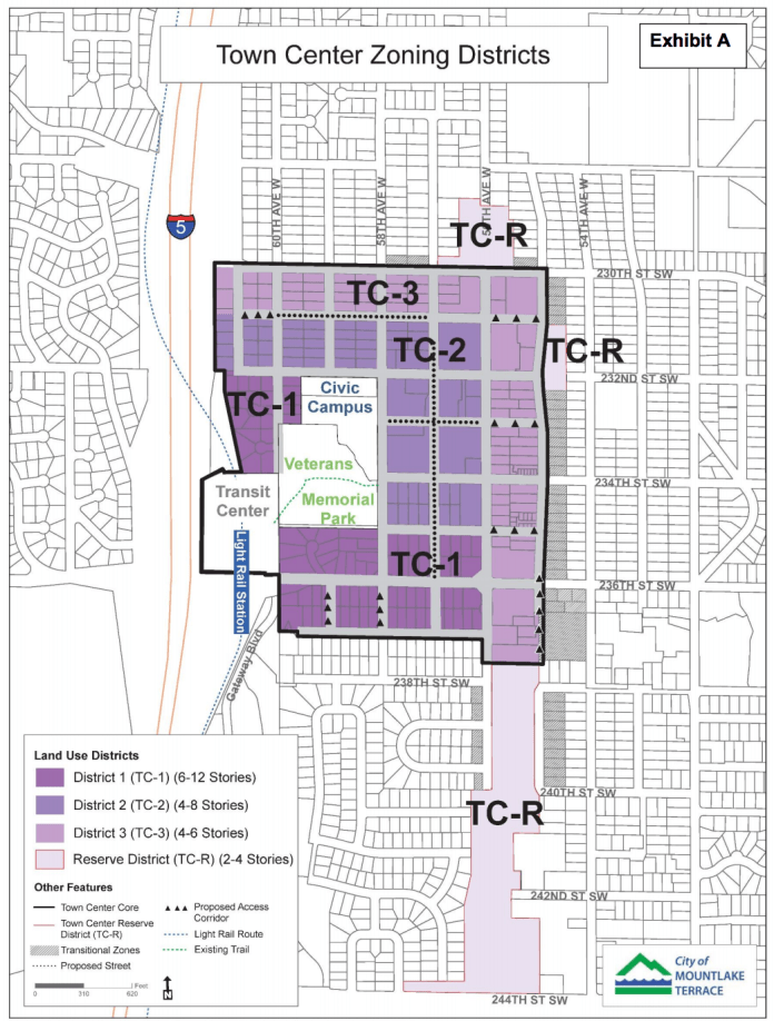 New zoning districts for the Town Center area. (City of Mountlake Terrace)
