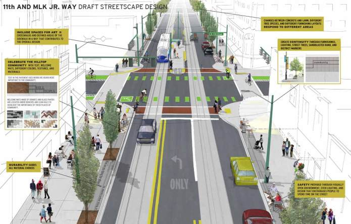 Draft design concept for the intersection of S 11th St and MLK Jr. Way. (City of Tacoma)