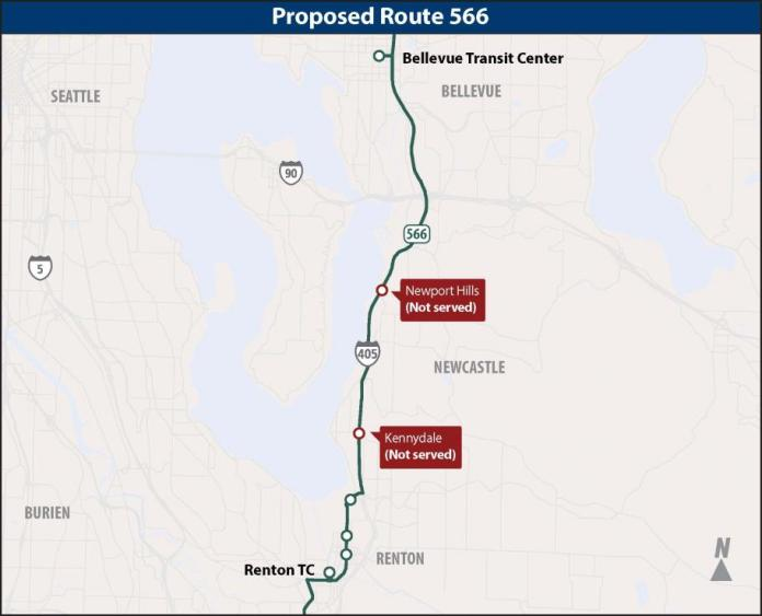 Deleted stops proposed for Route 566. (Sound Transit)