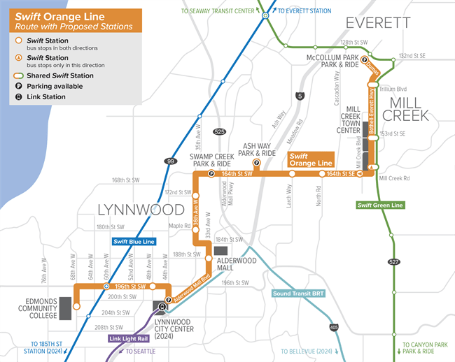 The planned Swift Orange Line and its relationship to other major transit facilities and corridors. (Community Transit)