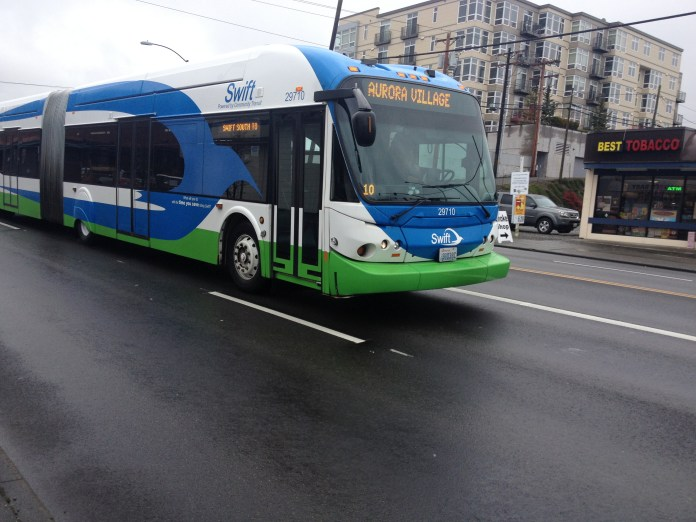 Swift Blue Line bus on the highway.