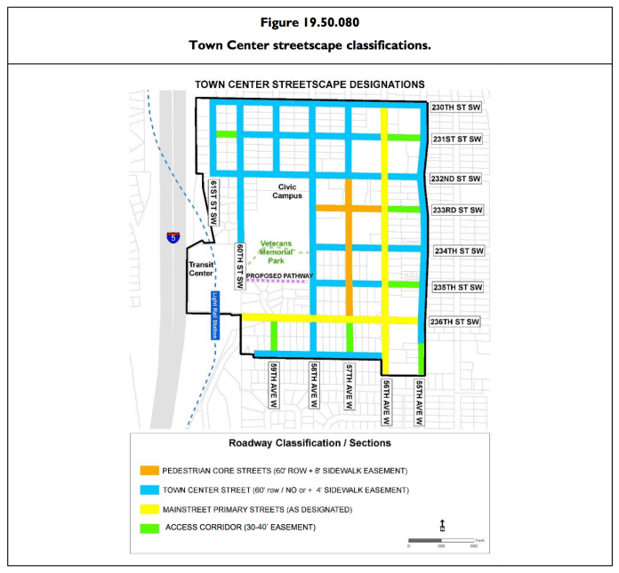 Street classifications for Town Center. (City of Mountlake Terrace)