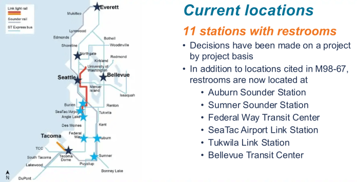 Where restrooms currently exist. (Sound Transit)