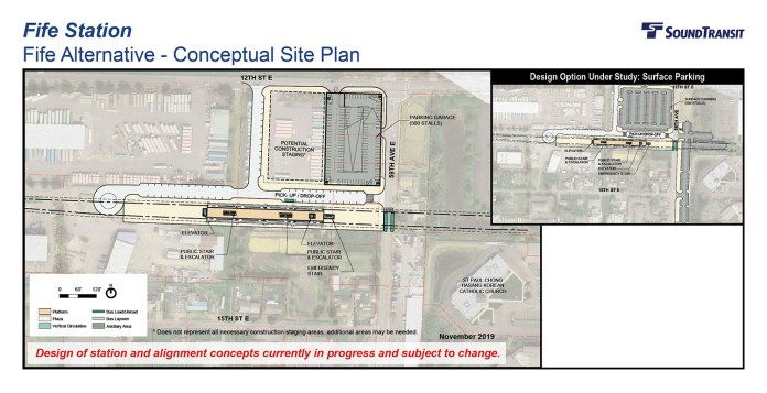 The conceptual station layout options for the Fife Station. (Sound Transit)