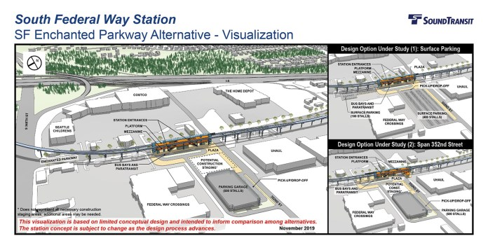 Renderings of the conceptual station layout options for the South Federal Way Station on Enchanted Parkway. (Sound Transit)
