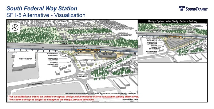 Renderings of the conceptual station layout options for the South Federal Way Station at I-5. (Sound Transit)