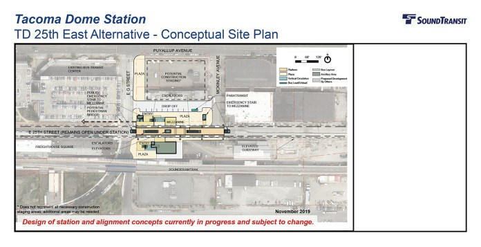The conceptual station layout option for the Tacoma Dome Station TD 25th East Alternative. (Sound Transit)